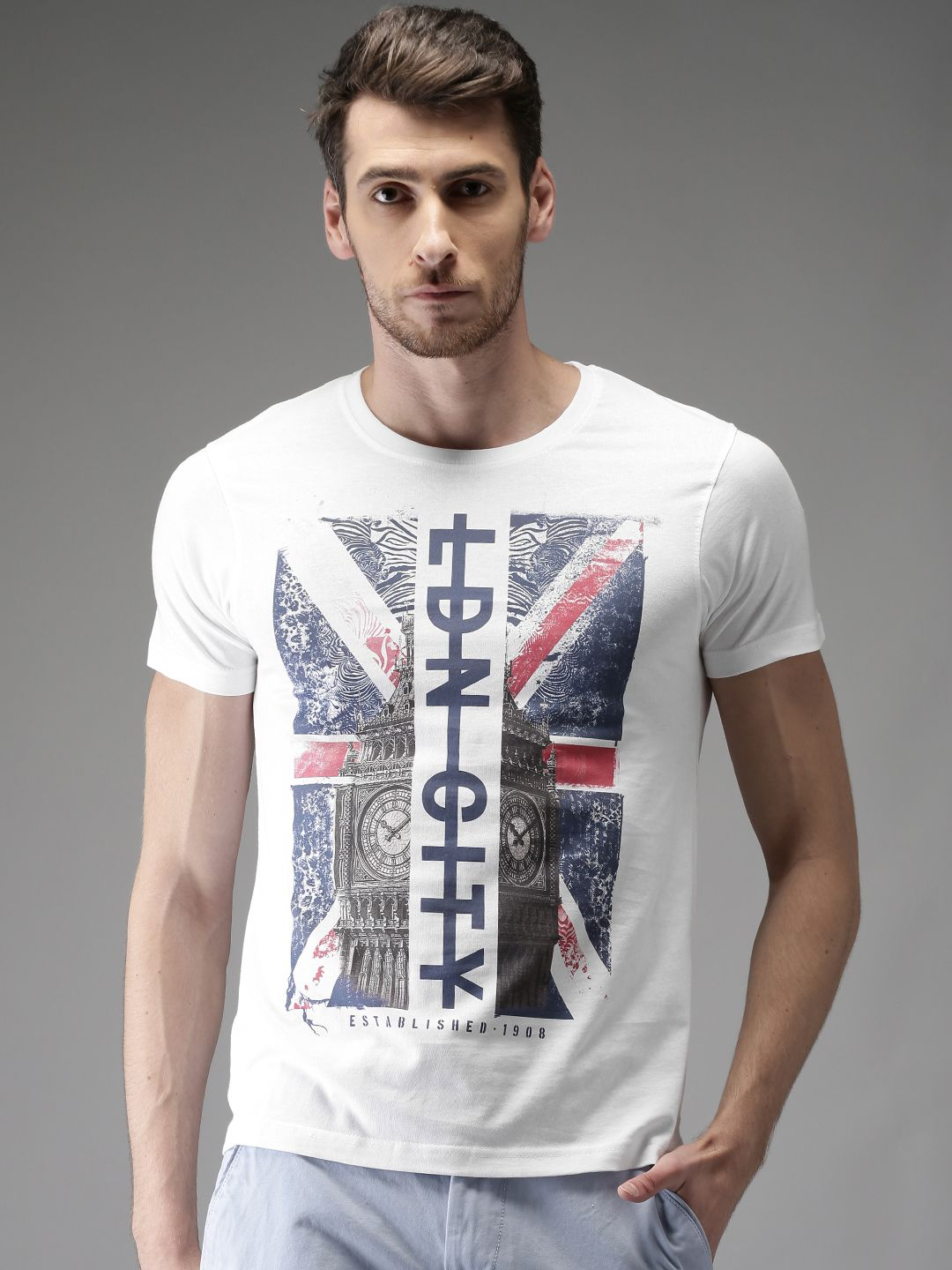 248a5f59881 Buy HERE NOW Men White Printed T Shirt - Tshirts for Men 2365764 ...