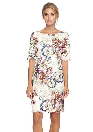 Tahari ASL Floral Printed Lace Sheath Dress