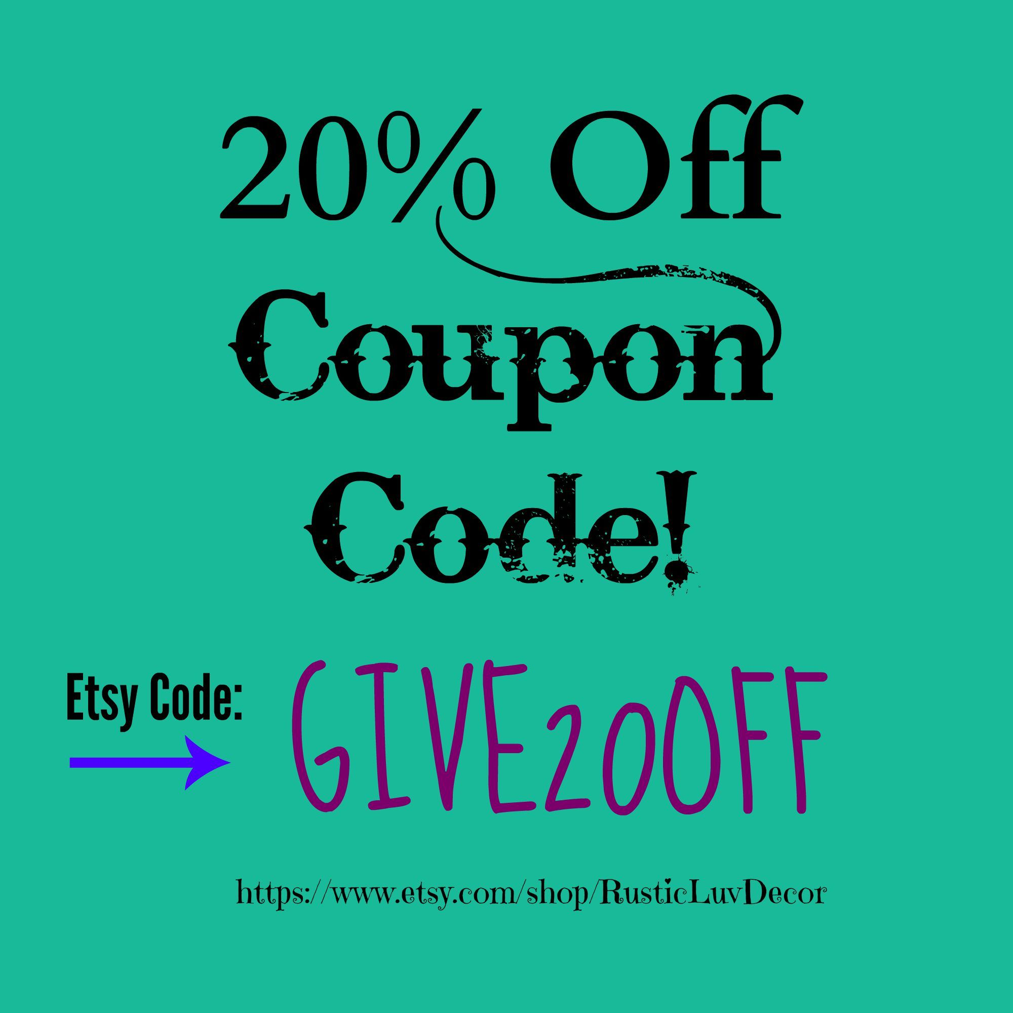 20% off total order coupon code! Use at https://www.etsy.com/shop ...