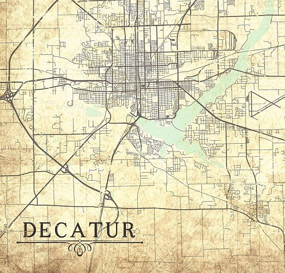 Map Of Decatur Il DECATUR IL Canvas Print Illinois Il Vintage map Wall Art map