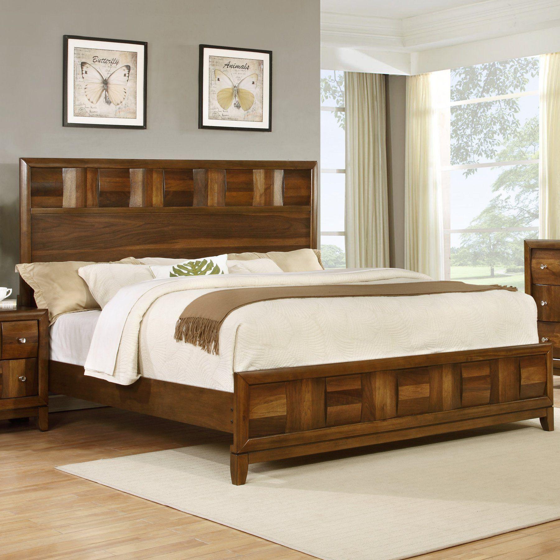 Best Roundhill Furniture Calais Panel Bed B151Q Wood 400 x 300