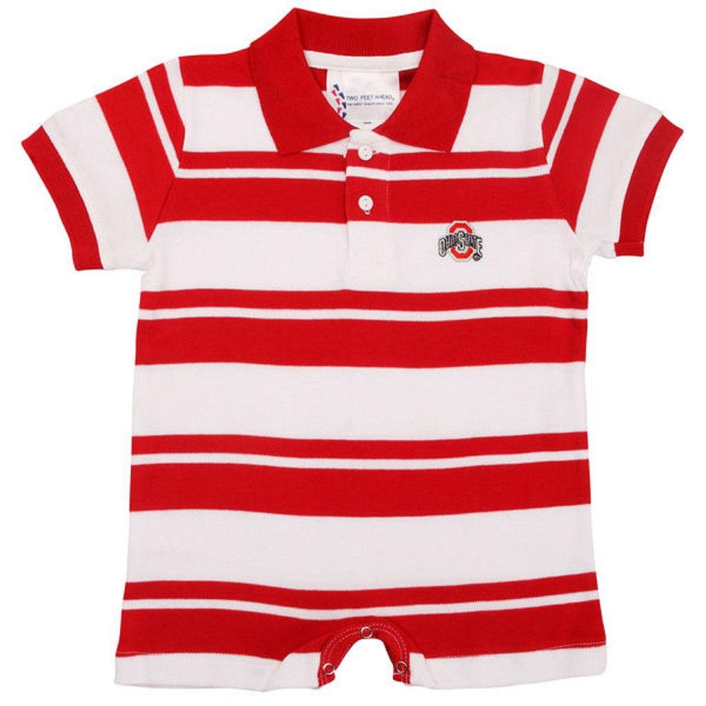 Ohio State Baby Boy Red Stripe Romper 12 Months