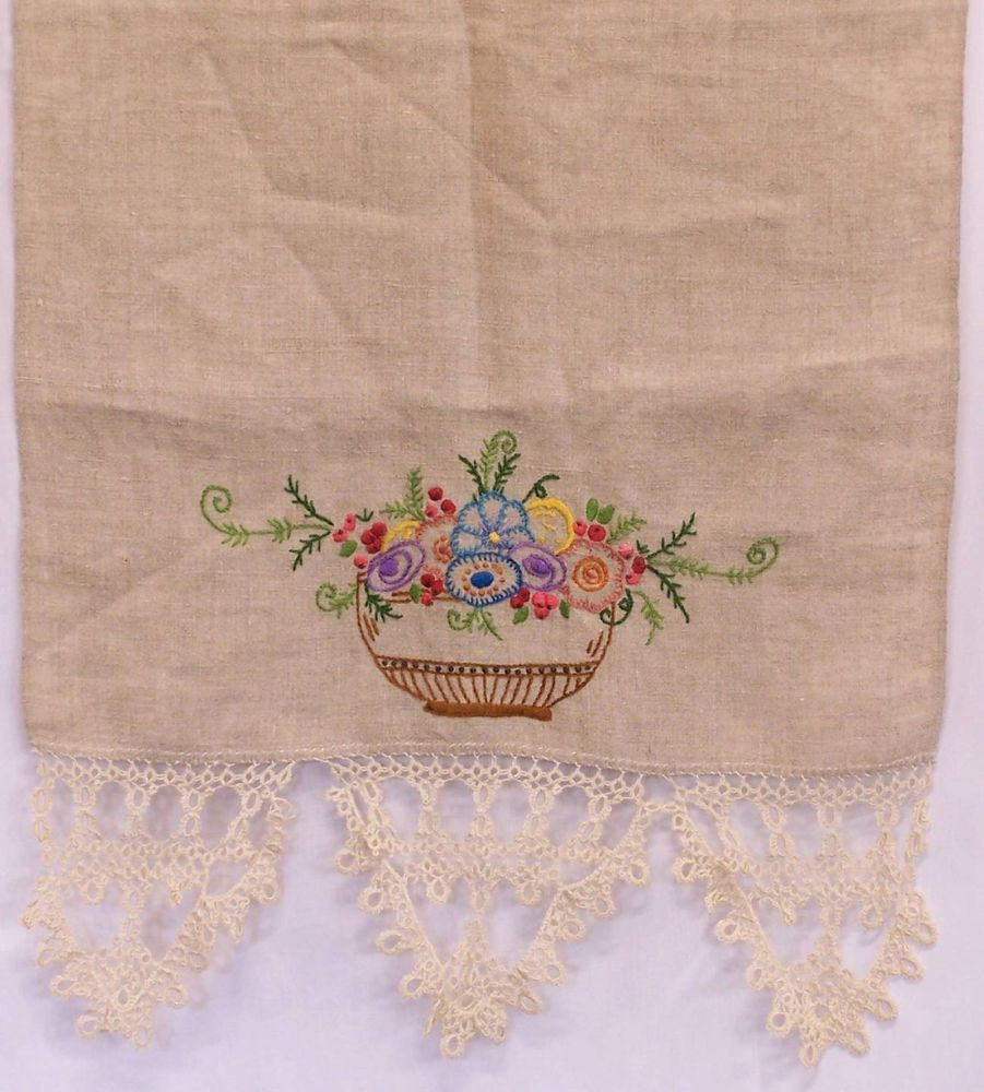 Vintage Tan Linen Embroidered Table Runner Dresser Scarf Tatted Piano Edge