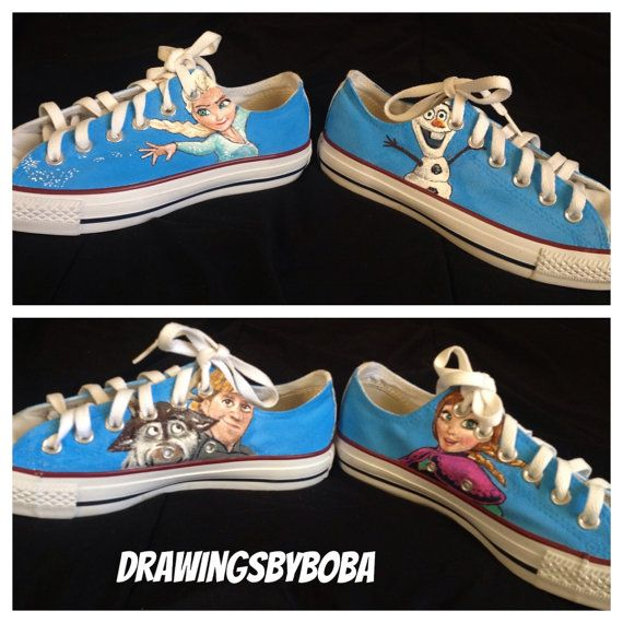 277210093eac Hand Painted Disney s Frozen Converse on Etsy