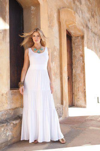 White maxi dresses for plus size women
