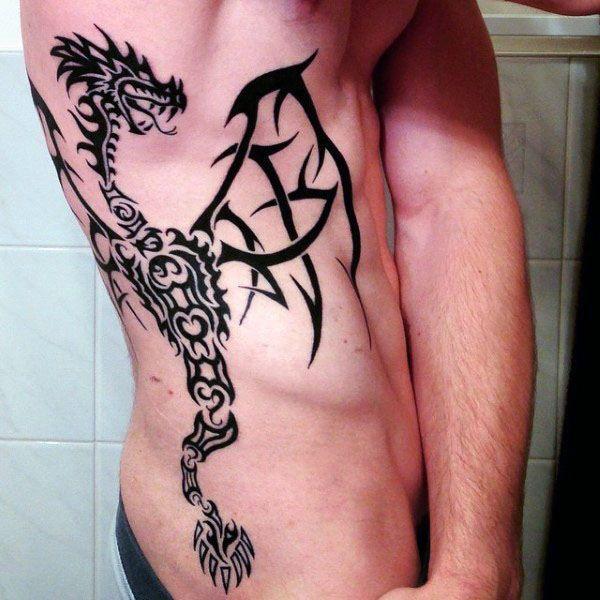 60 Tribal Dragon Tattoo Designs For Men Mythological Ink Ideas Tattoo Designs Men Dragon Tattoo Designs Dragon Tattoo