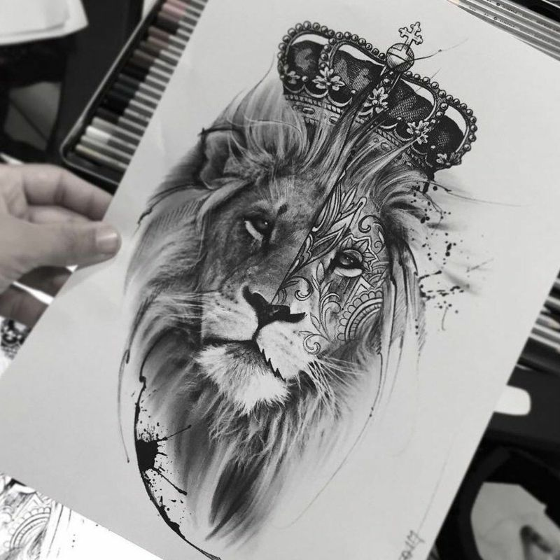 l wentatoo mit krone originelle vorlage mens lion tattoo lion tattoo design tattoo templates
