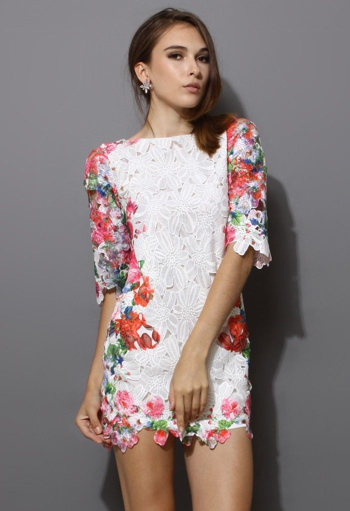White Whole Crochet Floral Shift Dress ~ wear this with some dark skinny jeans and heels!