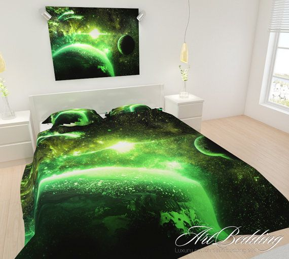 Bedding, Galaxy Bedding, Galaxy Bedding Set, Green Planets Duvet Cover,  Interstellar Bedding