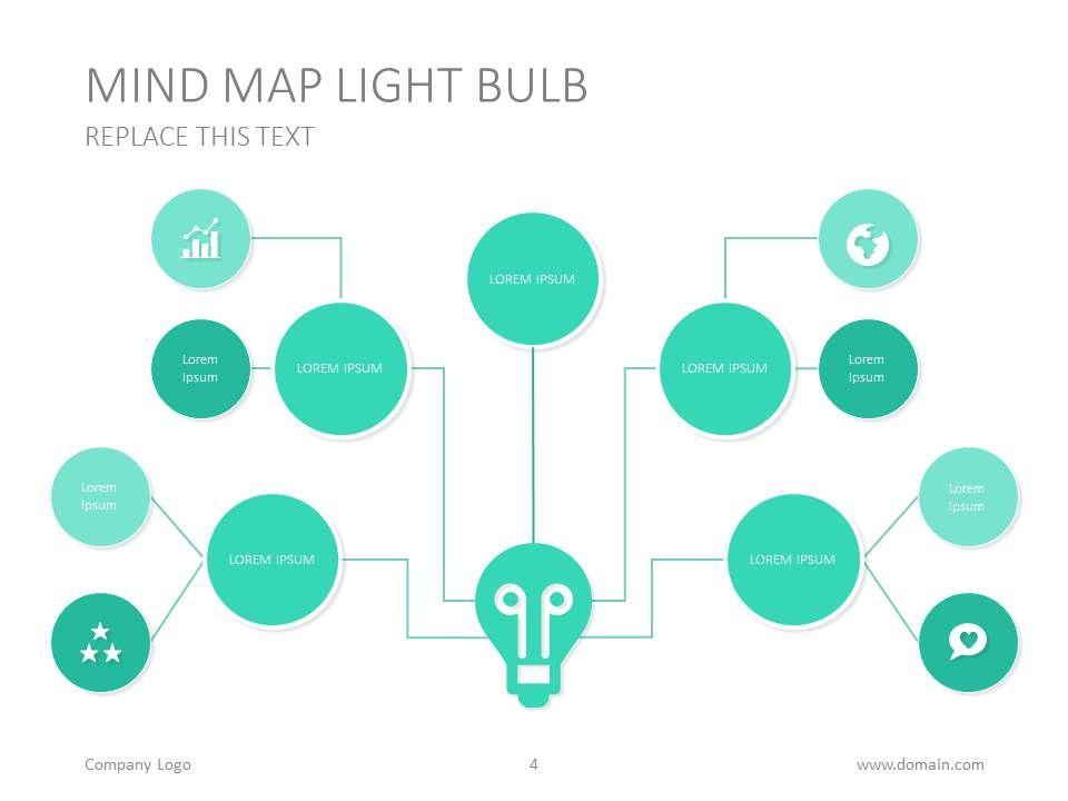 mind map presentation template design bulb idea presentation