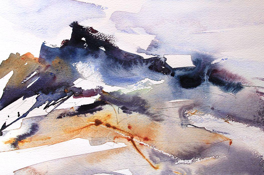 Rocks 7 Sea 4 Expressive Semi Abstract Loose Watercolour