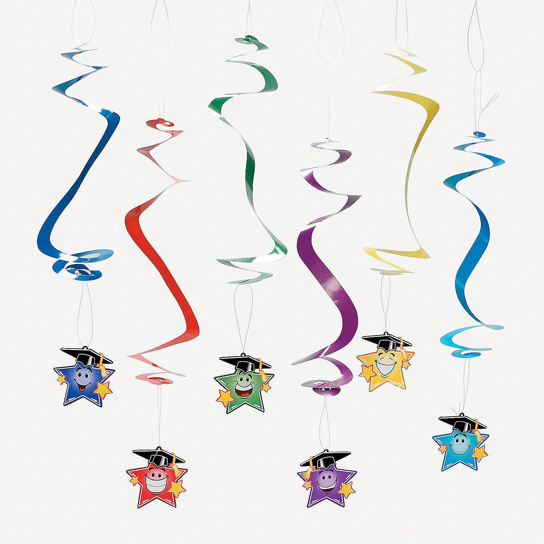 12 Elementary Graduation Star Dangling Swirls