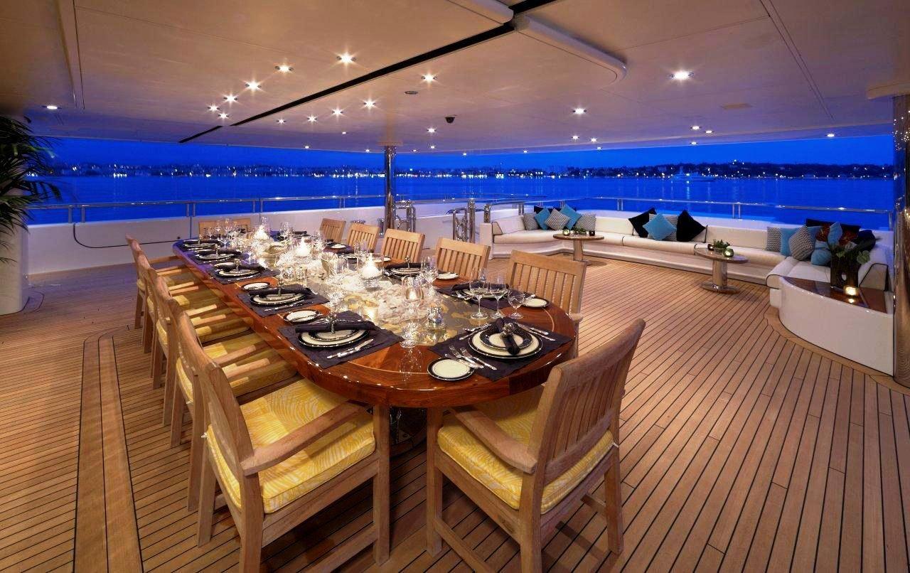 Inside of mega yachts luxury yacht charter superyacht for Table design yacht