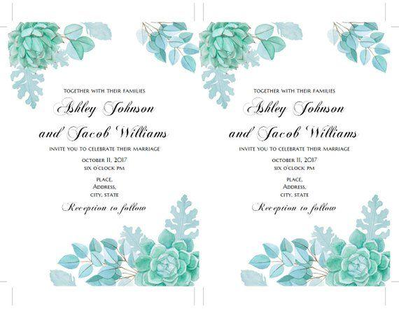 Succulent Wedding Invitation Template Mint Floral Invites