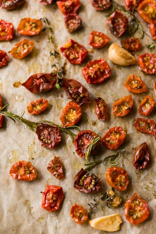 oven-roasted cherry tomatoes + garlic w/ fresh herbs
