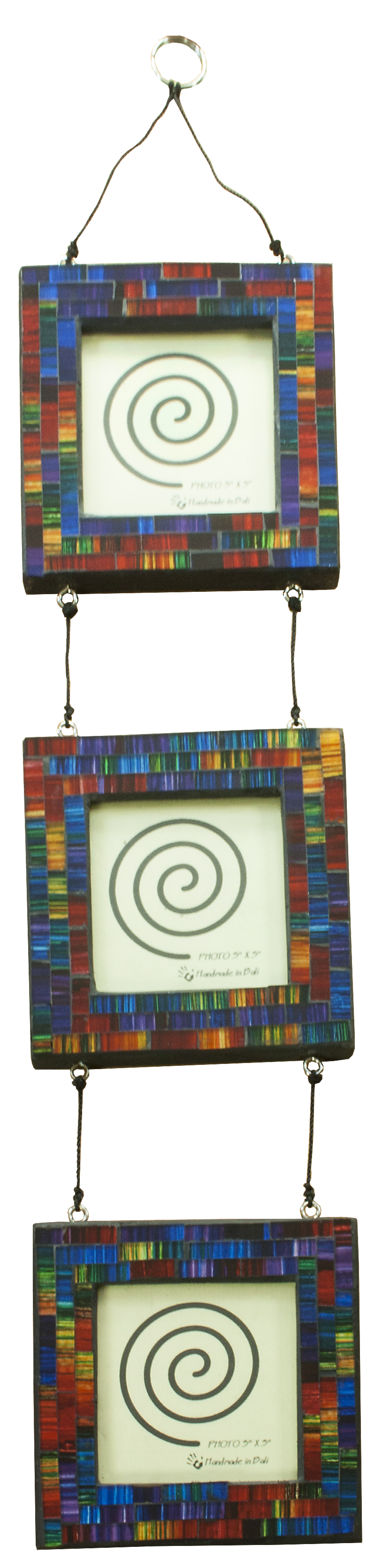 A string of three hanging photograph frames.