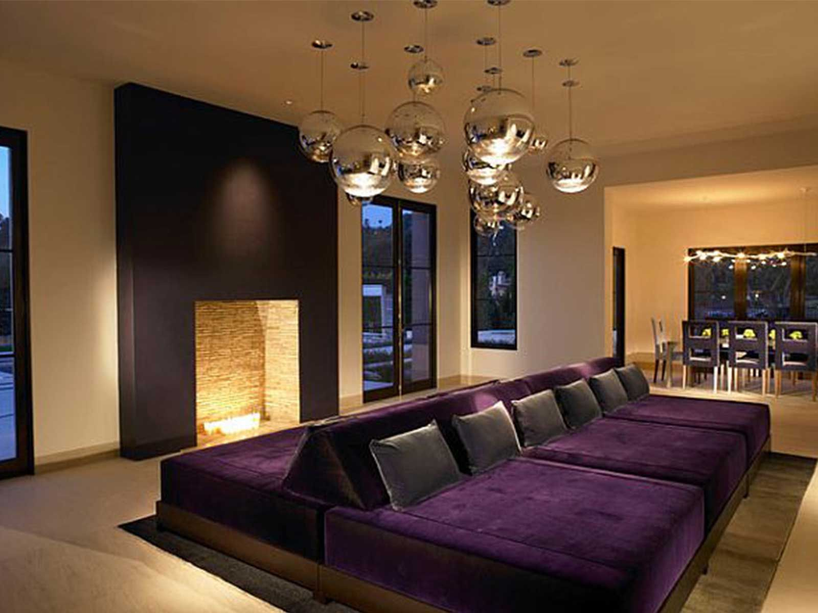How to make home theater room - Purple Cinema Bed For Home Cinema Dseign Ideas With Warm Fireplace With Soft Interior Lighting Some Theater Room Ideas That Should Always Be Consider