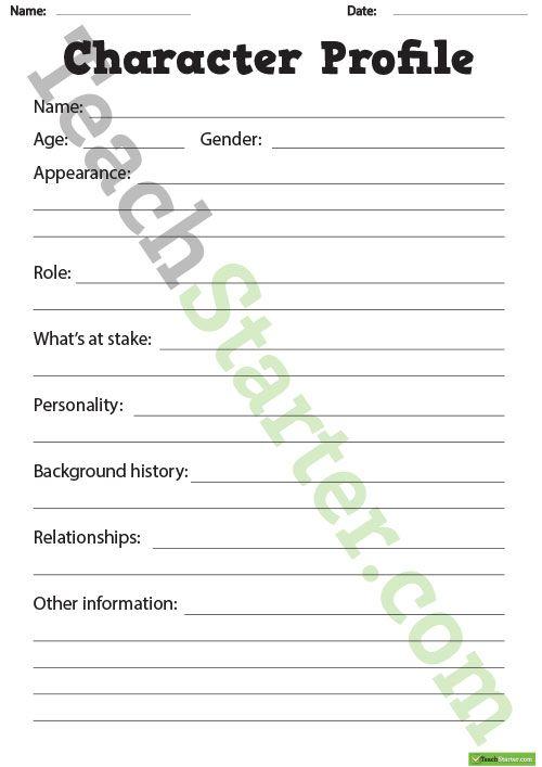 Detailed Character Profile Worksheet Teaching Resource Teaching