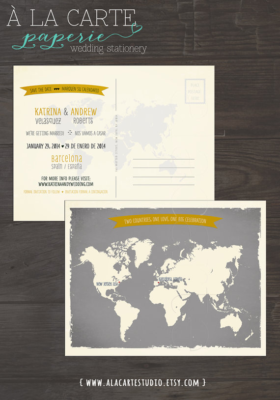 Destination wedding invitation map style bilingual save the date map style bilingual wedding save the date card world map grey and yellow colors gumiabroncs Choice Image