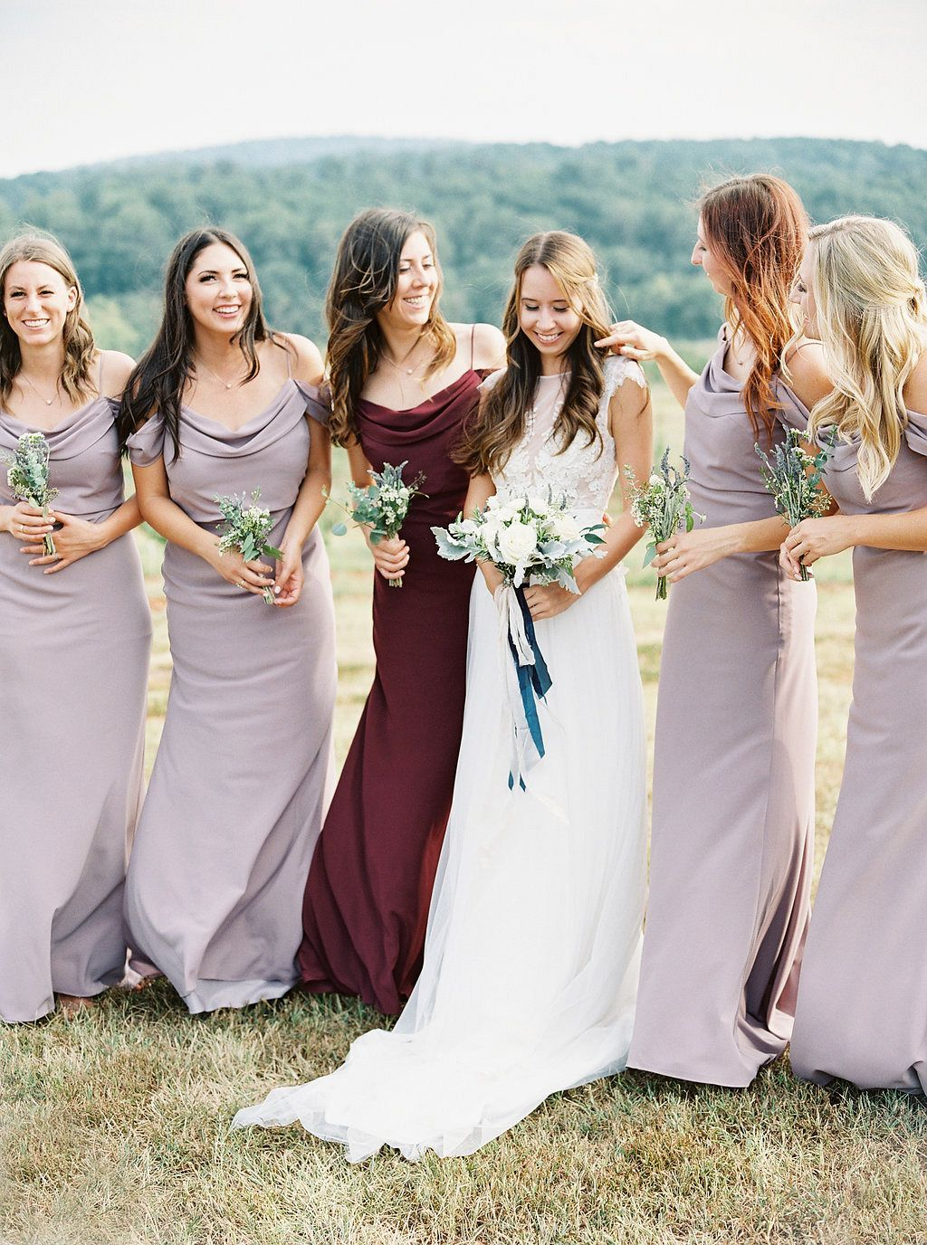 Mismatched bridesmaids beautiful color pallete blending berry mismatched bridesmaids beautiful color pallete blending berry hues mauve taupe and burgundy bridesmaids ombrellifo Choice Image