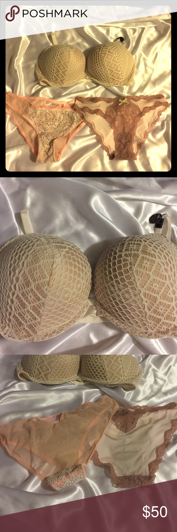 3 PC Fishnet White Bra 36D & 2 panties lace peach Beautiful 3 Piece Set - panties are size small Victoria's Secret Intimates & Sleepwear Bras