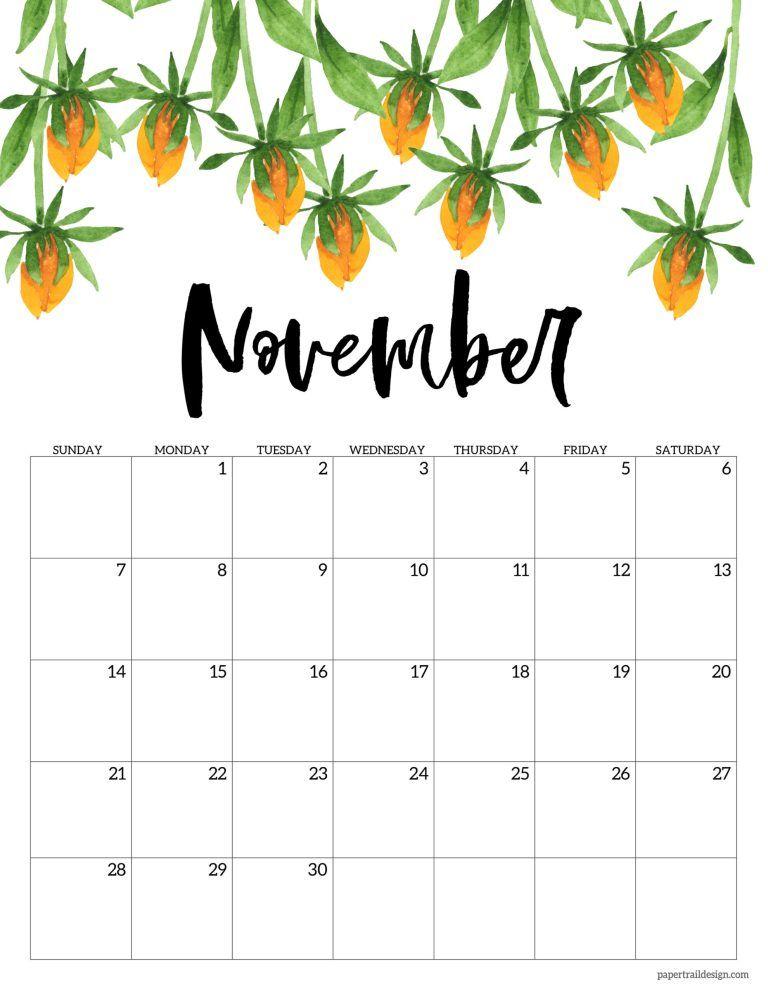 Calendrier Trails 2021 2021 Free Printable Calendar   Floral | Paper Trail Design in 2020