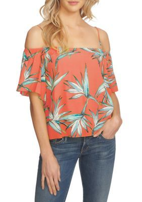 0e9cfd721a4230 State Women's Printed Cold Shoulder Top - Coral Gem - Xs Floral Cold  Shoulder