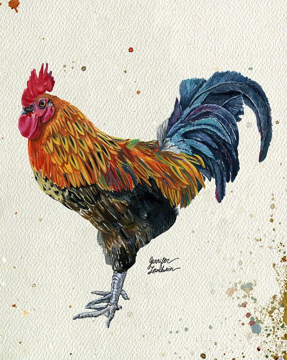 8x10 Art Print Rooster Harlow by TheOpulentNest on Etsy, $18.00