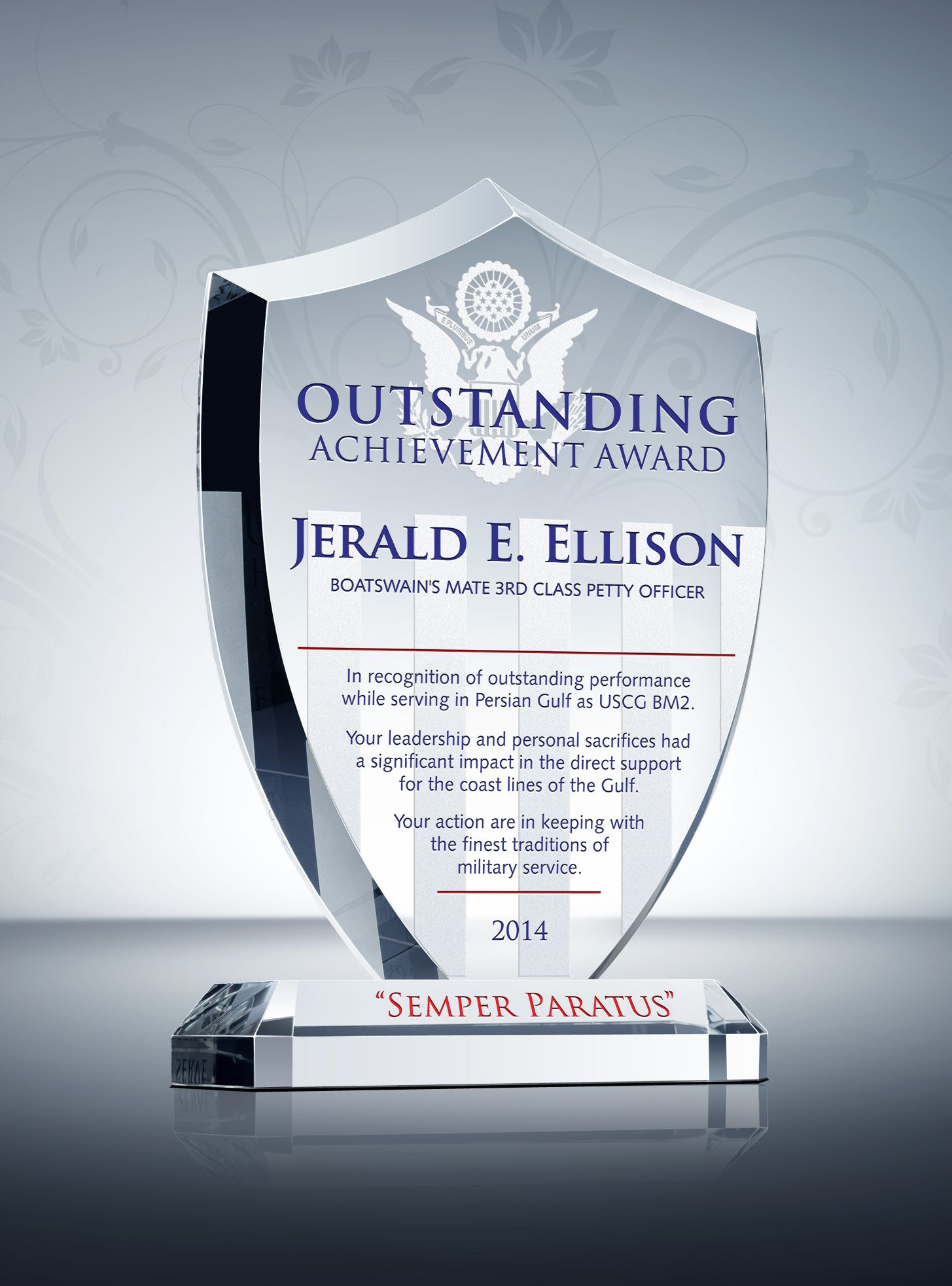 USCG Shield Recognition Plaque Award plaques, Resume