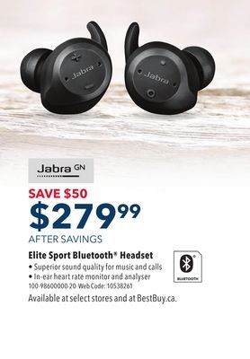 6e8226b89a1 Shared from Flipp: Jabra Elite Sport In-Ear Noise Cancelling Wireless  Earbuds - Black