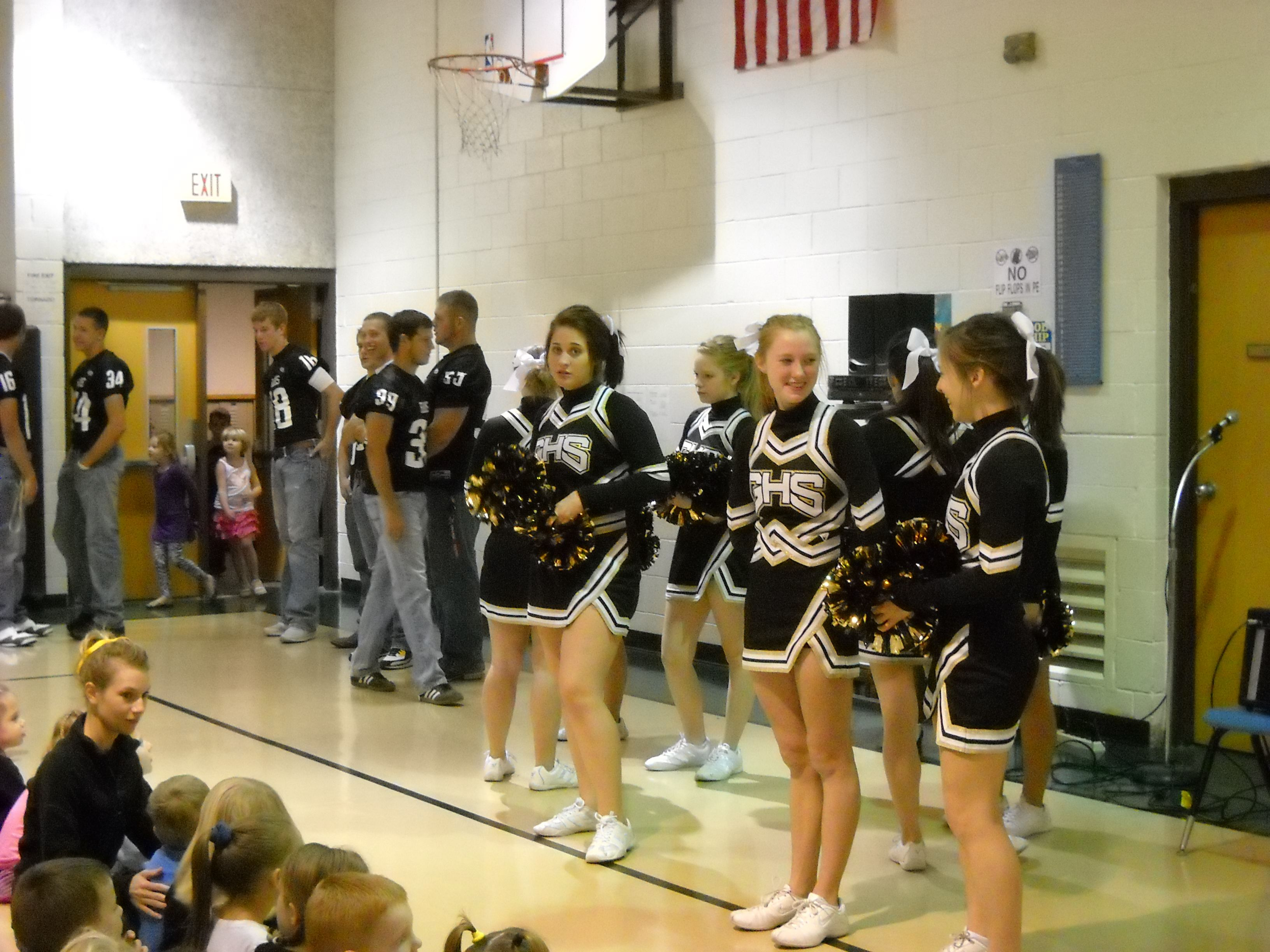 Cheerleaders And Football Players At Our Homecoming Pep Rally At The Elementary School Cheerleading Pep Rally Homecoming
