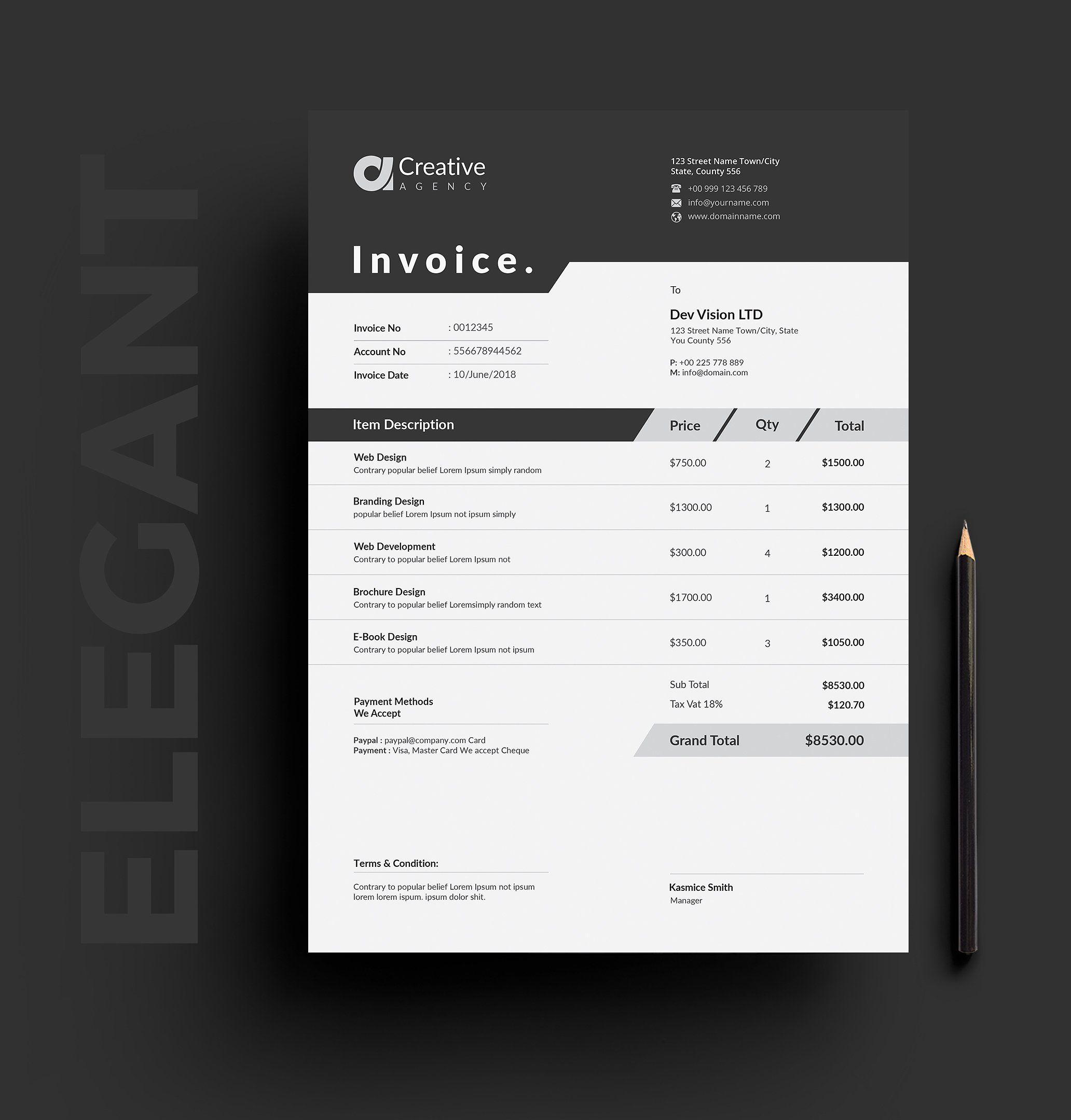 Invoice Invoice Layout Invoice Design Invoice Template