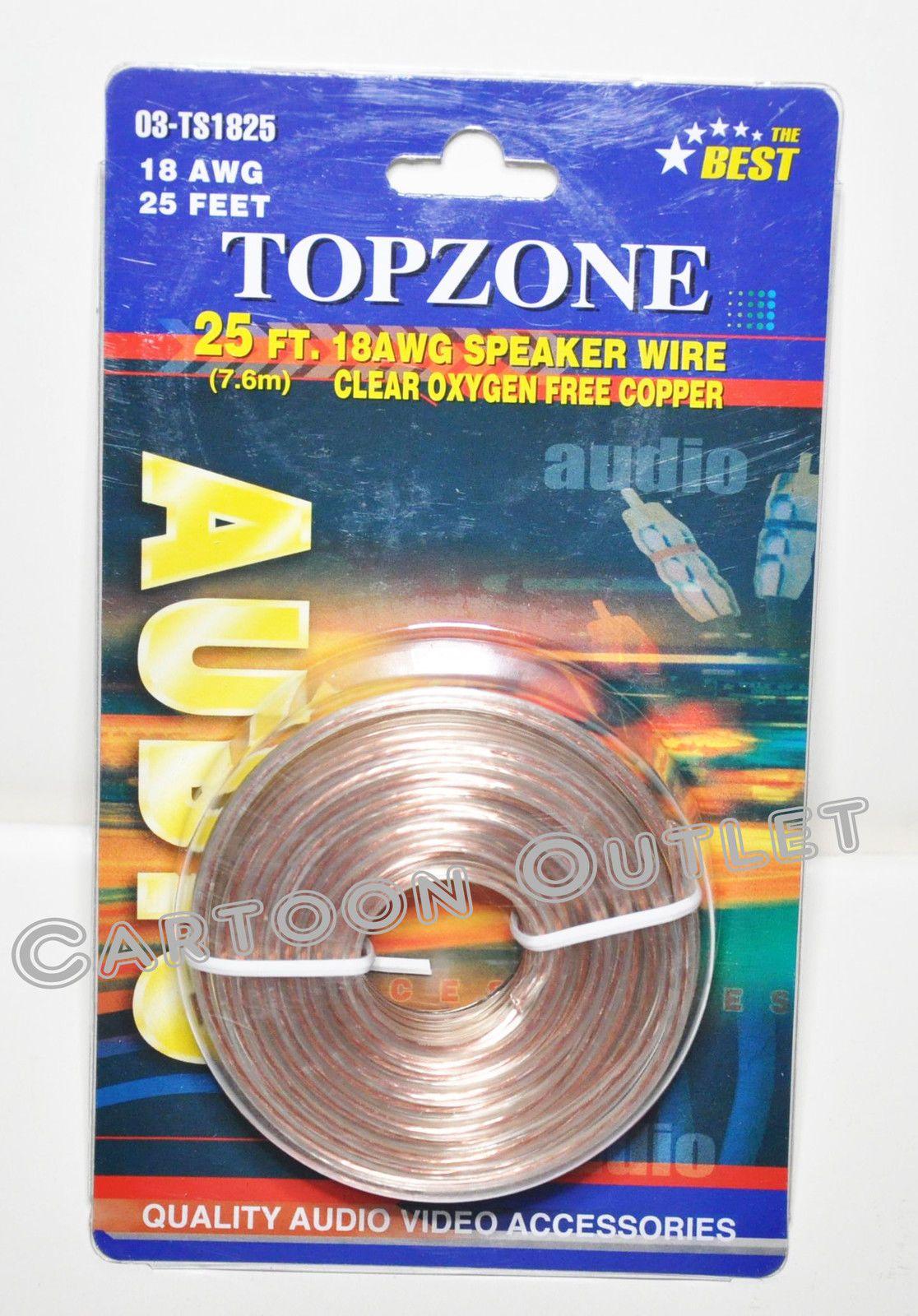 $6 99 - 25 Ft Speaker Wire 18 Awg Clear Oxygen Free Copper