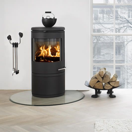 Our Wood Burning Stove With Large Round Door Glass