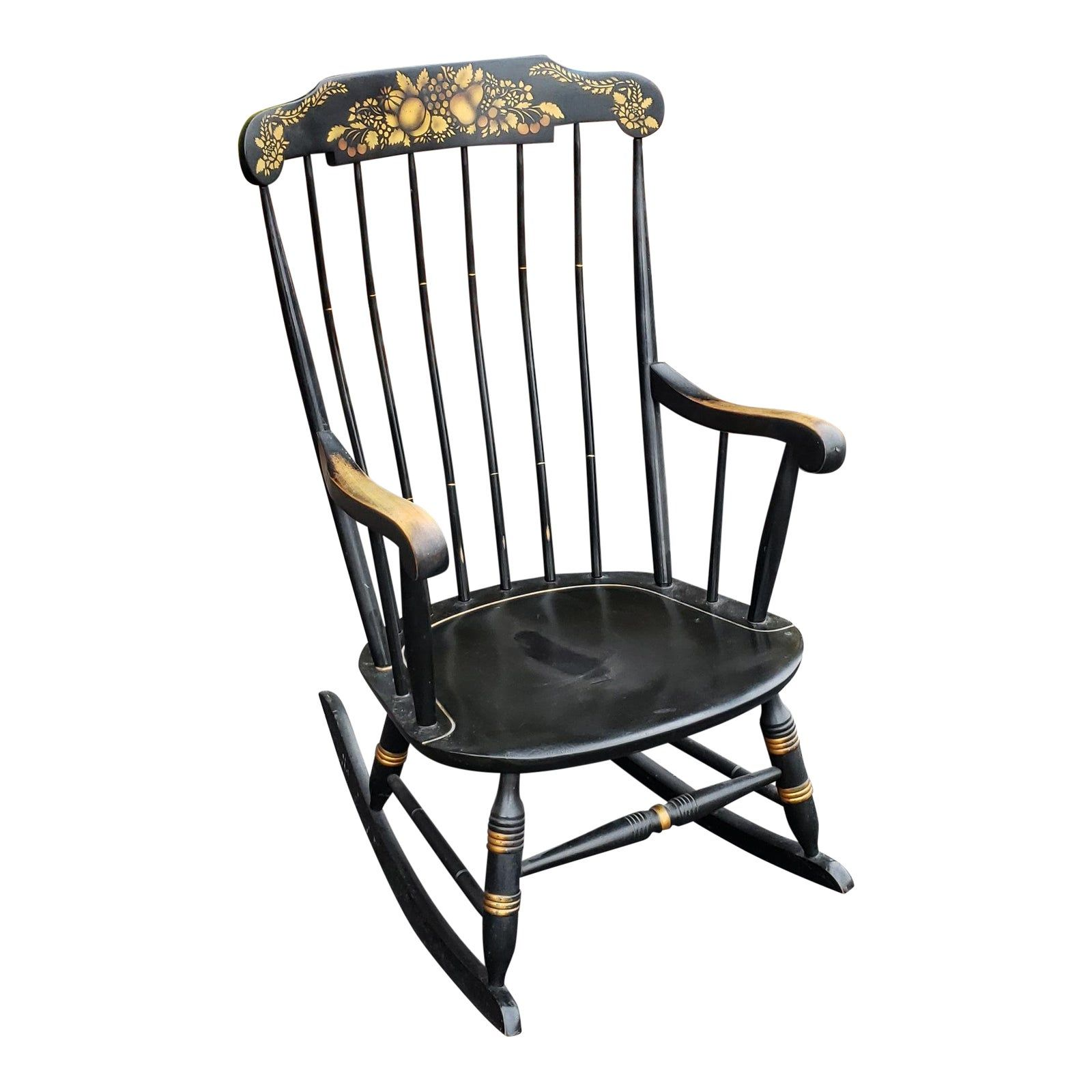 Vintage 1970s Black Hitchcock Style Painted Nichols Stone Co Rocking Chair Rocker In 2020 Nichols And Stone Rocking Chair Antique Rocking Chairs