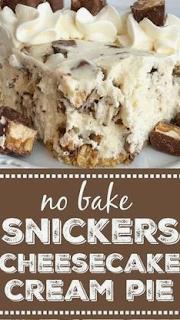 No Bake Snickers Cheesecake Cream Pie   Nana Recipes #snickerscheesecake