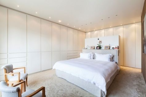Schlafzimmer Modern Gestalten Einbauschränke Weiß Teppichboden  Einbauleuchten Decke | Haus | Pinterest