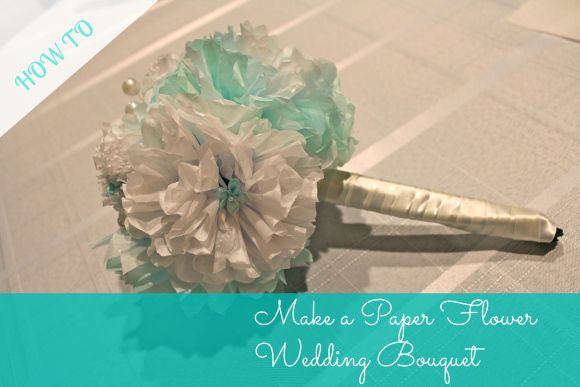 DIY paper flower wedding bouquet with pearls and white ribbon. Gorgeous!