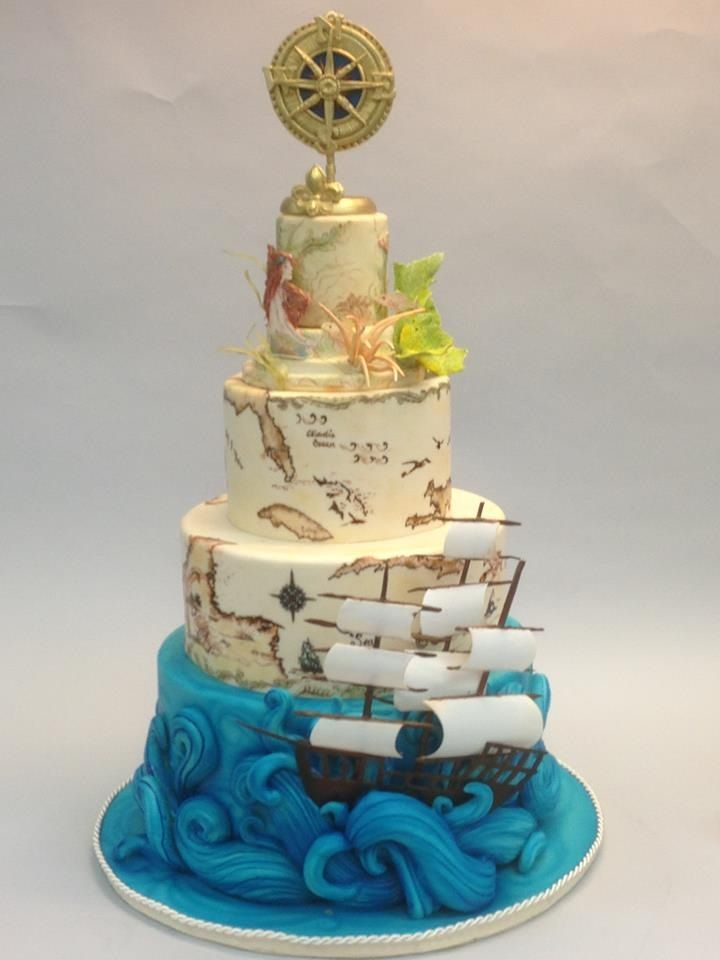 fantasy beach wedding cake with vintage map, waves, ship and compass - gorgeous!