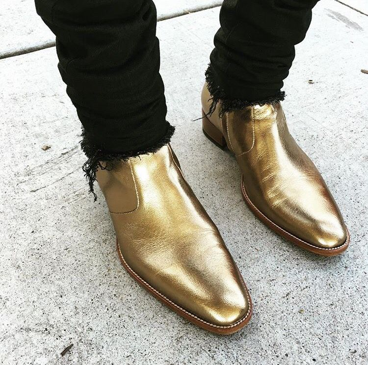 ef37ad92ef5 Gold Yves Saint Laurent boots Black ripped YSL jeans | Men's Dress ...