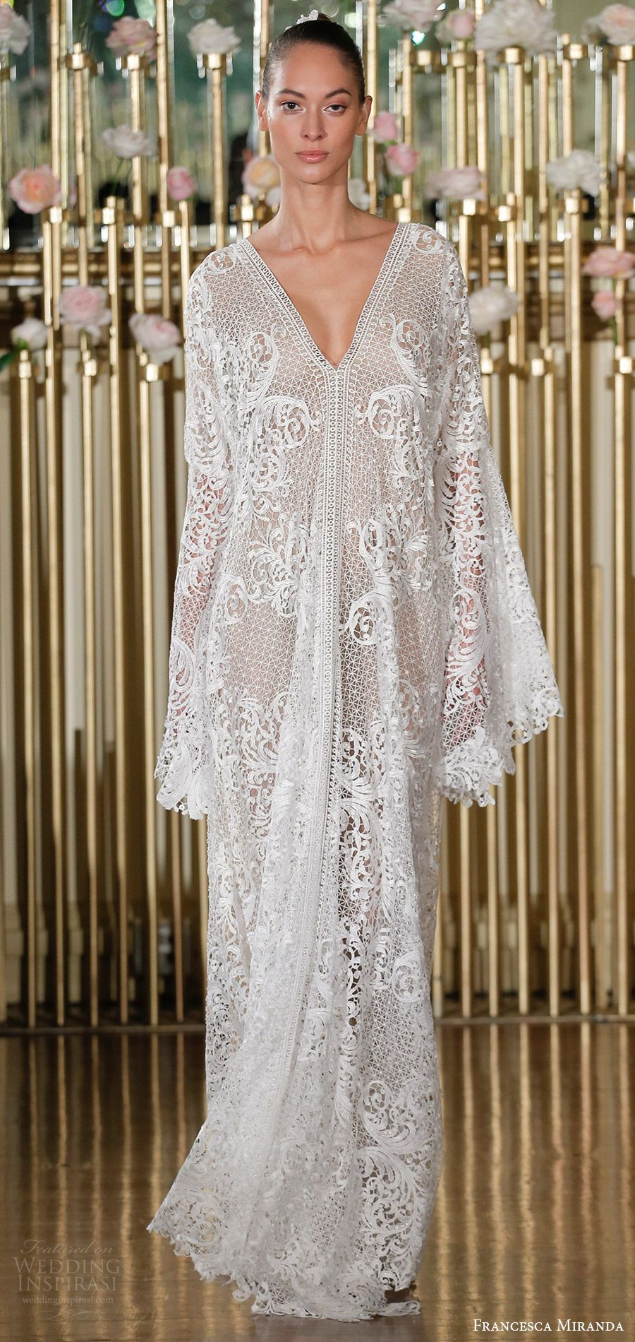 Francesca Miranda Spring 2018 Bridal Long Sleeves Beaded Lace V Neck