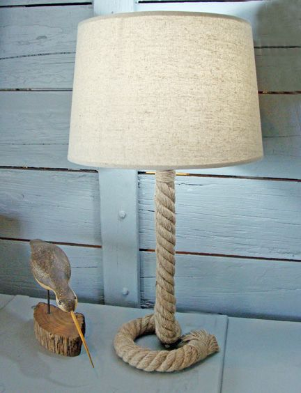 nautical rope lamp nautical knot handcrafted nautical rope table lamp with fabric shade stands 25 inches tall to top of