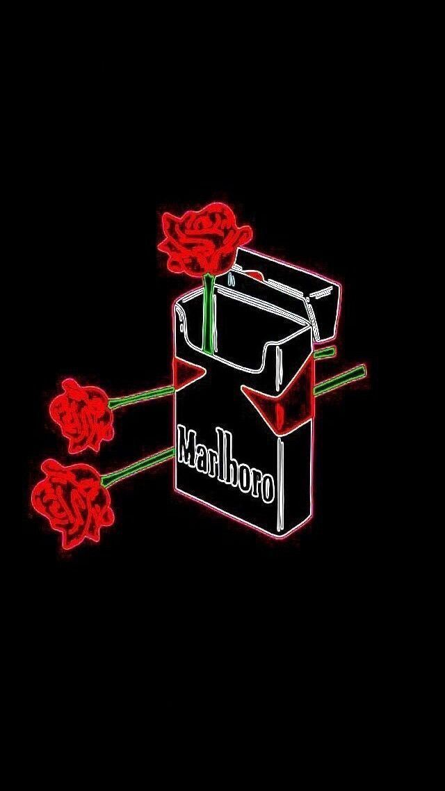 marlboro + roses. Black aesthetic wallpaper, Neon