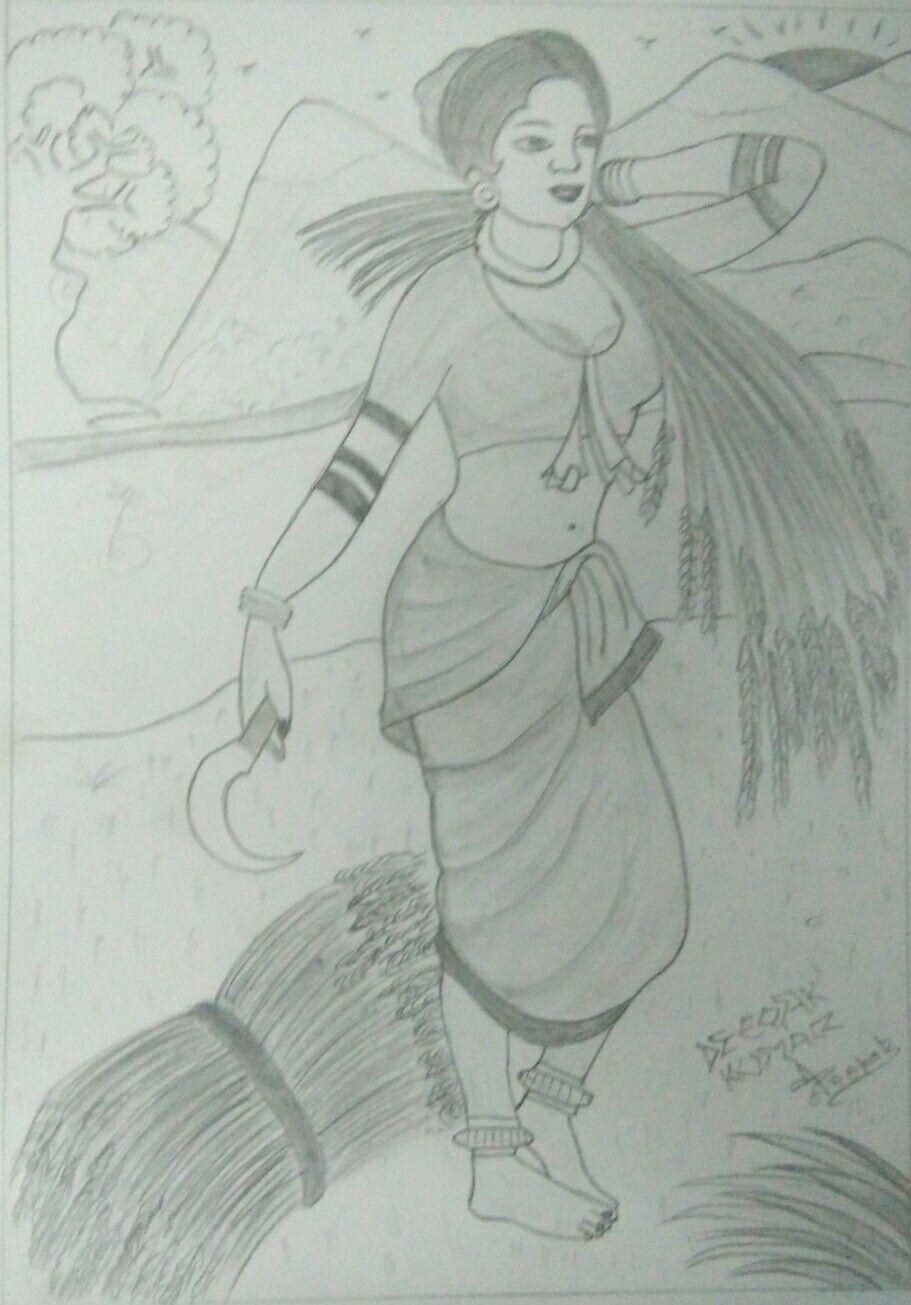 Pencil Sketch Village Girl