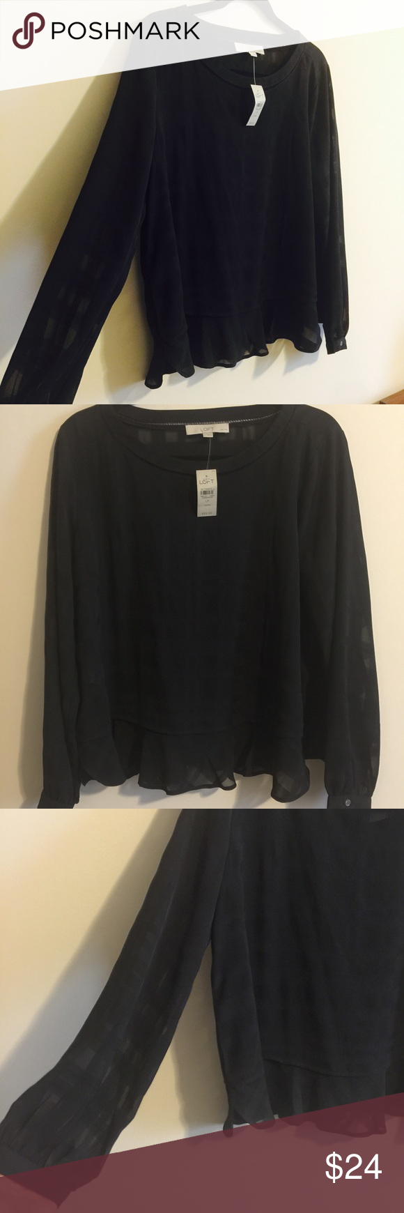 Loft ✨ Sheer Black Checkerboard Blouse NWT, never worn, beautiful black dressy top! Meant to wear out (not tucked in). Size Large Petite. Pretty & perfect! LOFT Tops Blouses