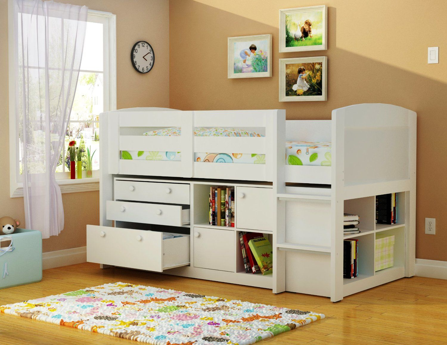 Maxtrix Great Storage Low Loft Bed With Stairs Twin Size White Low Loft Beds Perfect Model And Lofts