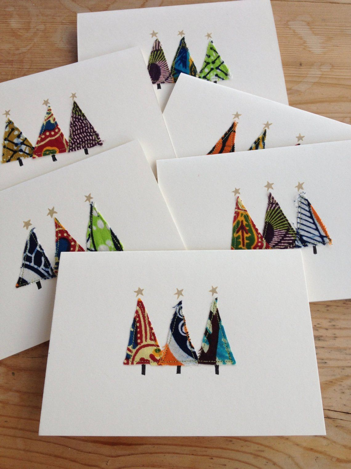 Homemade Christmas cards - unique designs, African print fabric (sold as individual or as set of 6)