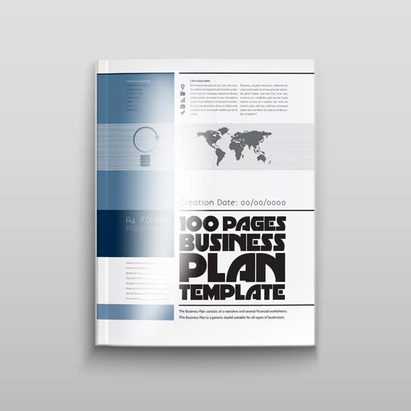 100 Pages Business Plan Template A4 v1 Fully Editable In Design - printable business plan template