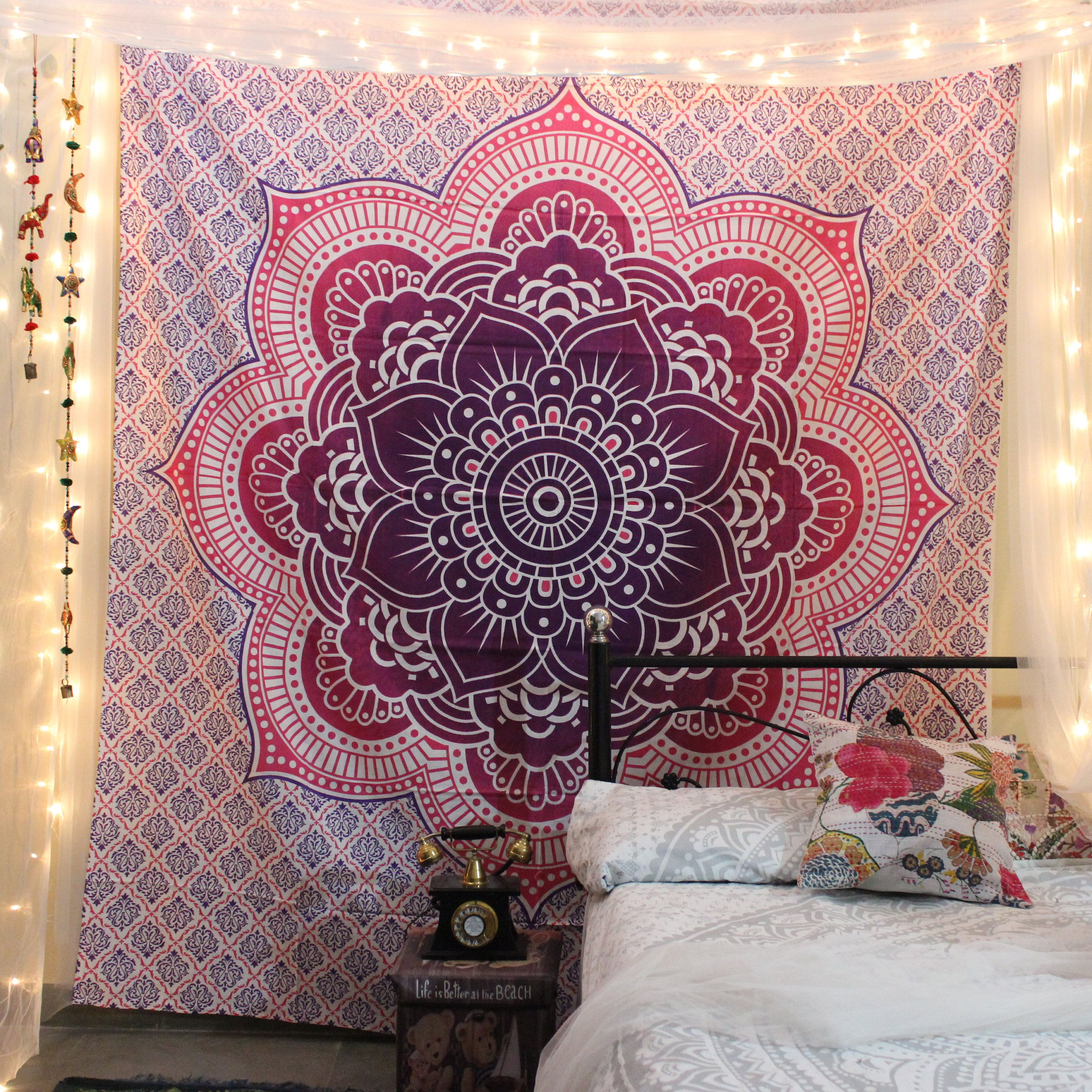 Mandala Tapestry Wall Hanging Indian Bohemian Black White Sunflower Bedspread