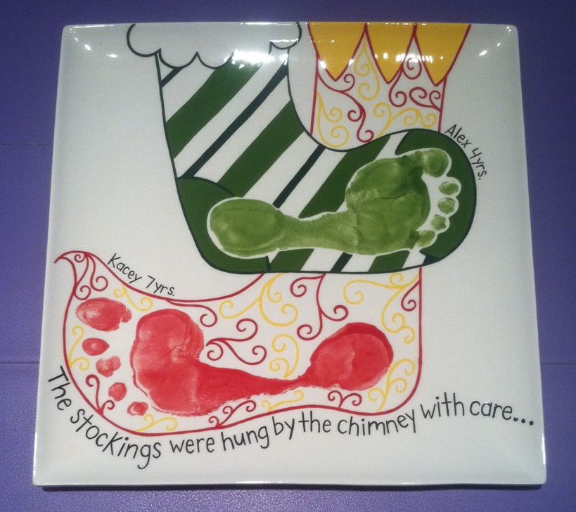 Christmas stockings footprint plate paint your own